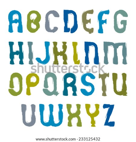 Vector hand-painted colorful letters isolated on white background, uppercase art script with brushstrokes, doodle cartoon alphabet.