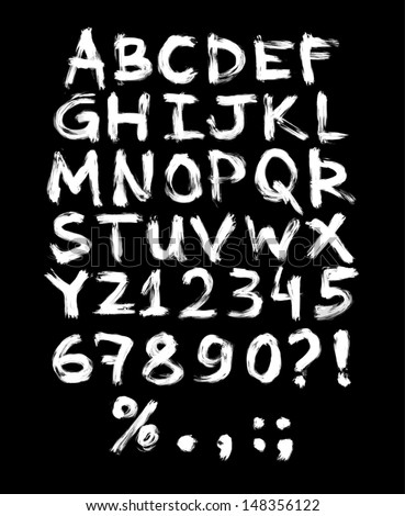 Vector hand painted grungy alphabet - white - stock vector
