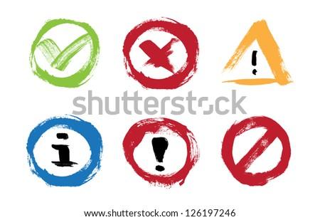 Vector hand painted icons set - success, error, warning, information, attention, forbidden - stock vector