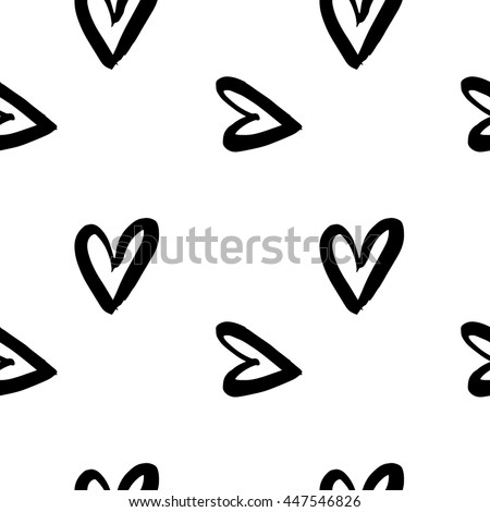 Vector hand-painted seamless pattern with ink hearts. Abstract background. Doodles.