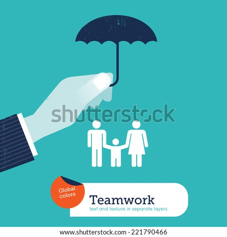 Vector hand protecting a family with an umbrella. Vector illustration Eps10 file. Global colors. Text and Texture in separate layers. - stock vector