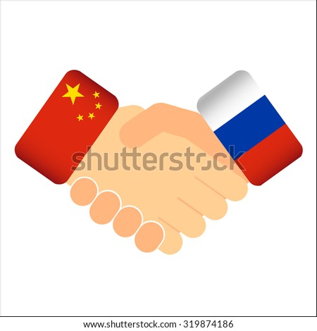 Vector hand shake china russia relationship isolated illustration - stock vector