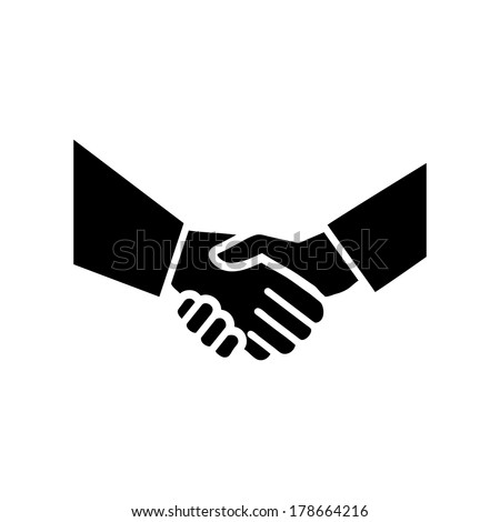 vector hand shake flat design icon | black pictogram on white background  - stock vector