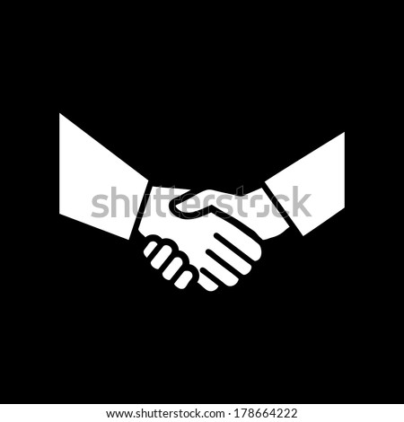 vector hand shake flat design icon | white pictogram on black background  - stock vector