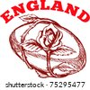 "vector hand sketched drawing illustration of rugby ball with rose flower vine entwined on isolated background with words ""England"" - stock photo"