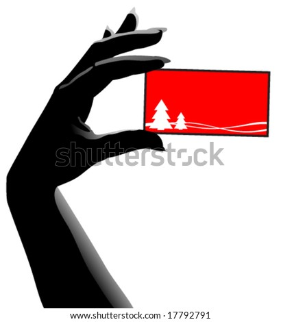 Vector hand with christmas card - stock vector
