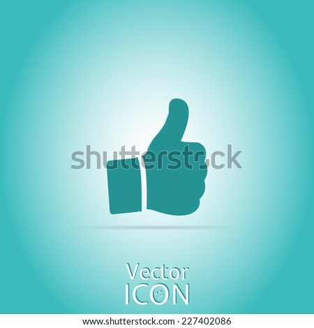 Vector hand with thumb up icon. - stock vector