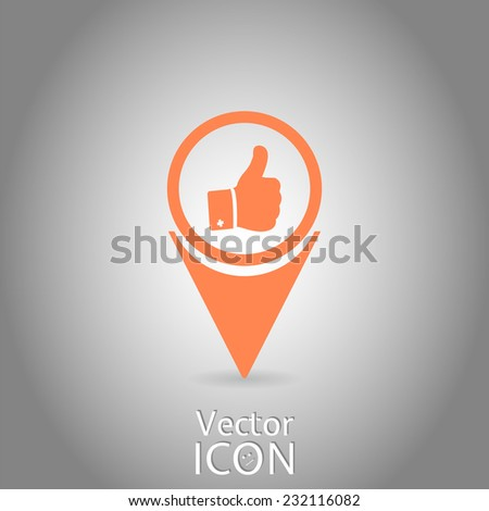 Vector hand with thumb up icon. Flat design style. - stock vector