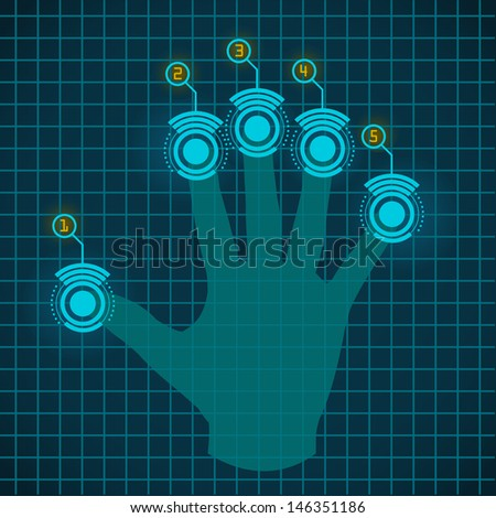Vector hand working with touch screen device  - stock vector