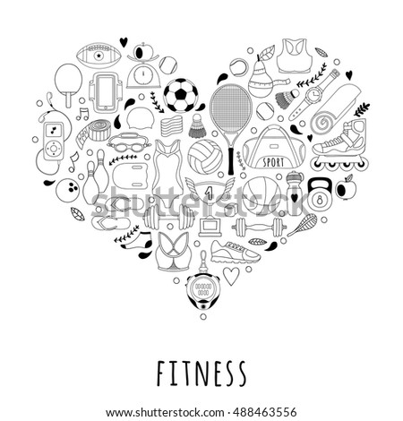 Vector handdrawn  illustration set of fitness and sport elements and symbol in doodle style. Healthy lifestyle background made of sport icons in heart shape