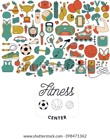 Vector handdrawn  illustration set of fitness and sport elements in doodle style. Healthy lifestyle background made of sport icons  - stock vector
