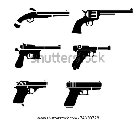 vector handgun pictogram - stock vector