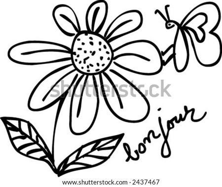 vector handmade line drawing - stock vector