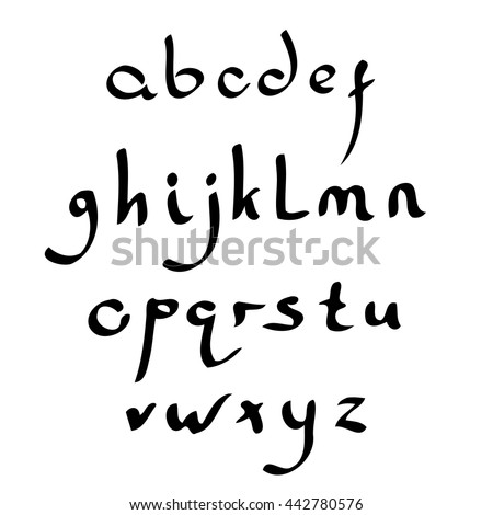 Vector handmade Roman alphabet in the style of Eastern Arabic script. Black and white - stock vector