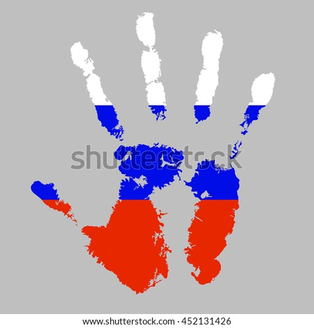 vector handprint with the flag of Russia on a gray background
