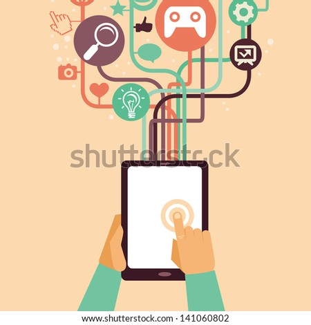 Vector hands and tablet pc with internet icons - illustration in flat retro style - stock vector
