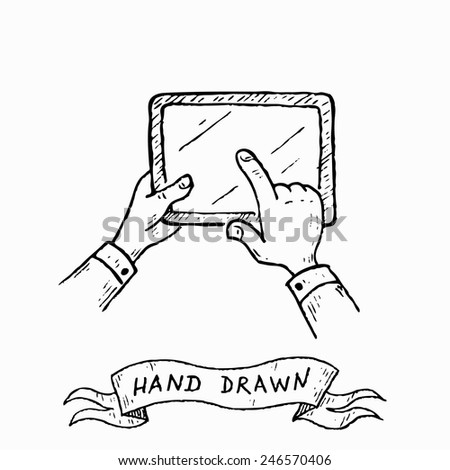 Vector hands holding tablet, pointing, touch screen. Hand drawn by ink pen in vintage engraving style.