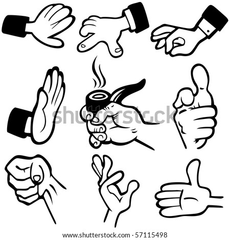 Vector Hands in different poses - stock vector