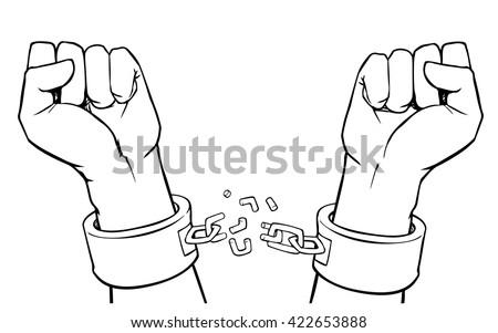 Hands In Broken Chains Clipart