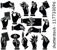 Vector hands & office stationery silhouettes set - stock vector