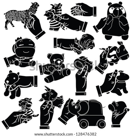 Vector hands & soft toy silhouettes set - stock vector