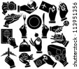 Vector hands, travel and vehicle silhouettes set - stock