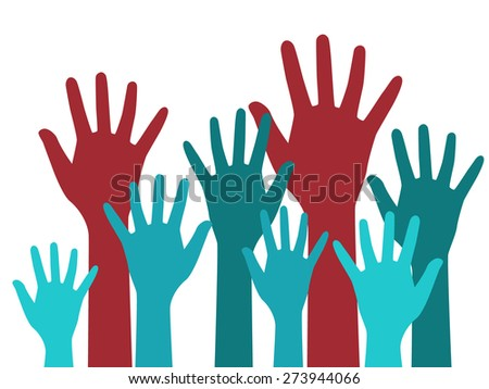 Vector hands up. Colorful illustration with blue and red human hands raised in the air, isolated on white background.