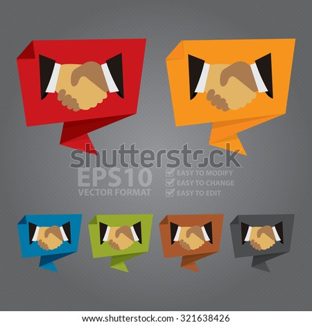 Vector : Handshake, Hand Holding Paper Origami Speech Bubble or Speech Balloon Infographics Sticker, Label, Sign or Icon  - stock vector