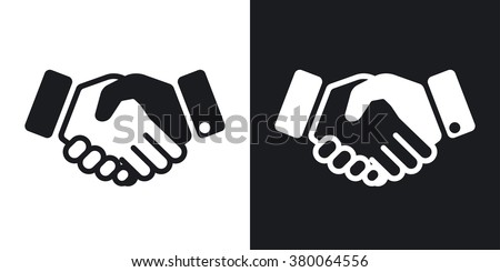 Vector handshake icon. Two-tone version on black and white background - stock vector
