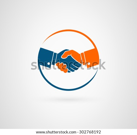 Vector handshake symbol. Business and finance icon - stock vector