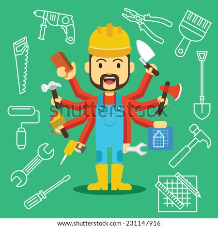 Vector handsome builder with lot of hands and working tools outline icons set. Creative vector flat illustration. Cute mascot concept. Trendy style graphic design elements isolated on green background - stock vector