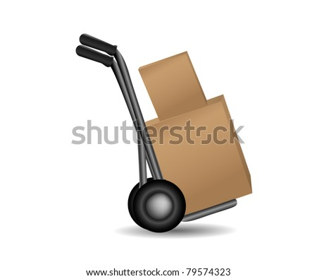 Vector Handtruck isolated on white - stock vector