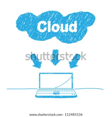 vector handwriting sketch technology cloud computing concept - stock vector