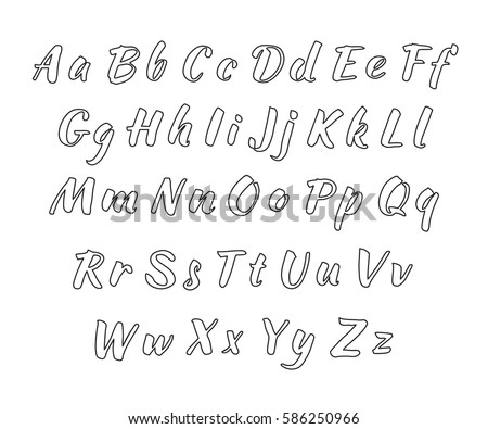 Calligraphy Fonts Vector Alphabet Hand Drawn Stock Vector