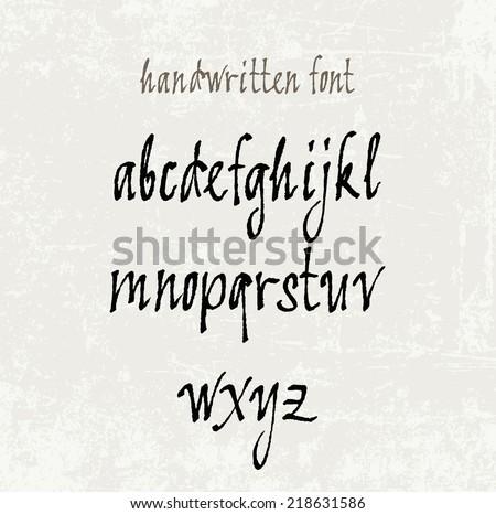 Vector handwritten calligraphic font - stock vector