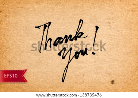 Vector handwritten calligraphy Thank You over old yellow paper background - stock vector