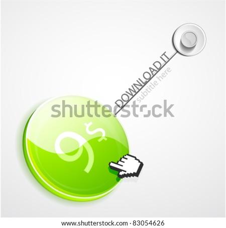 Vector hang download button - stock vector