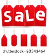 Vector Hanging Sale Tags - stock photo