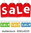 Vector Hanging Sale Tags - stock vector