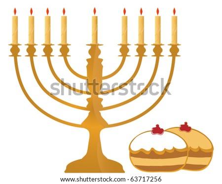 Vector Hanukkah Symbols Illustration - stock vector