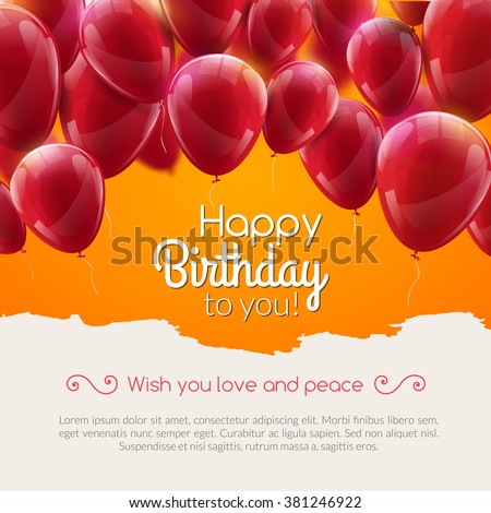 Vector happy birthday anniversary card with red balloons, party invitation, carnival celebration background. Greeting balloons - stock vector