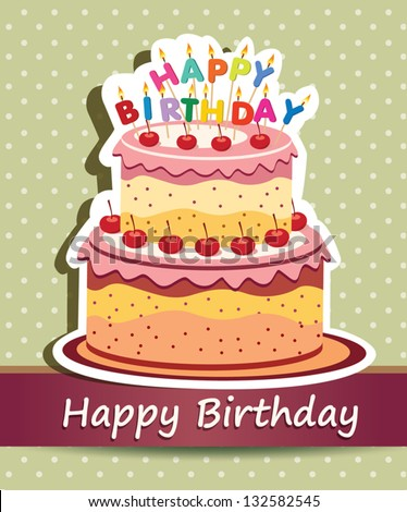 Vector Happy Birthday Card Birthday Cake Stock Vector HD Royalty