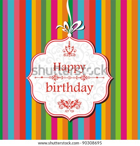Vector happy birthday card. Greeting card on a red background with bow - stock vector