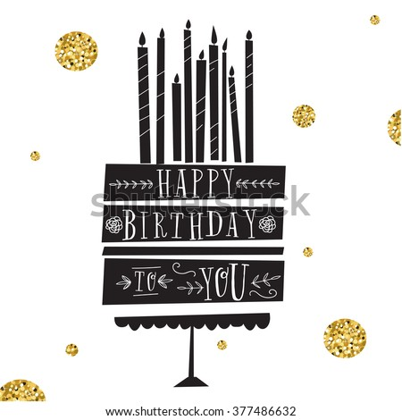 Vector Happy Birthday Card Modern Hipster Stock Vector 377486632