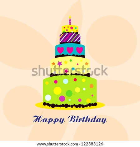 Vector happy birthday card with Birthday cake / Vector birthday cake - stock vector