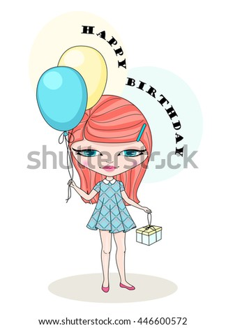 Vector happy birthday card with cute girl holding gift and balloons - stock vector