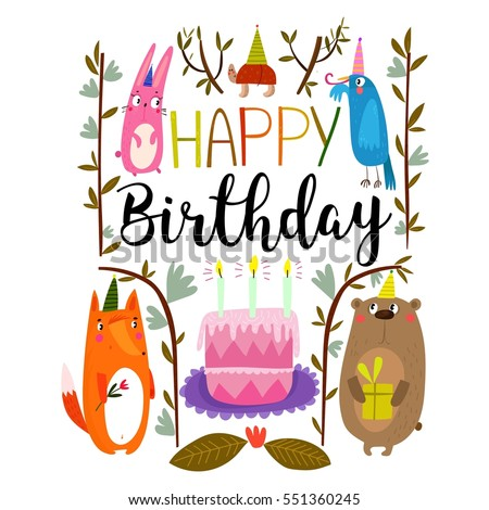 Vector happy birthday card cute rabbit stock vector 551360245 vector happy birthday card with cute rabbit bird turtle fox and bear bookmarktalkfo Images