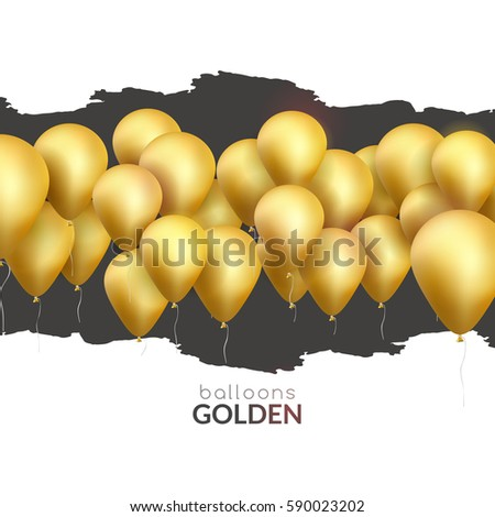 Vector happy birthday card with golden balloons, party invitation. Celebration backgorund