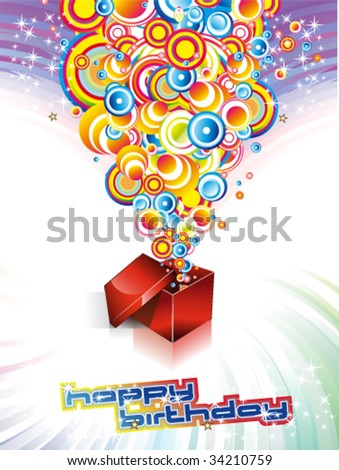 VECTOR Happy Birthday Colorful Background with Abstract Flower and Fantasy Elements