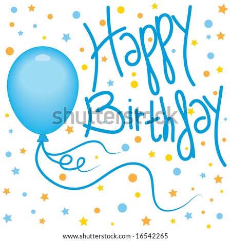 Vector Happy Birthday design with balloons and confetti; handwritten text - stock vector